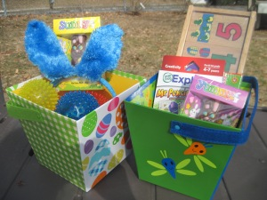 Reusable storage baskets and spring trinkets.
