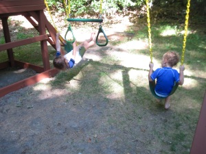 Arobatics are no problem for Itty Bitty, and Mini Moose is a swing pro!